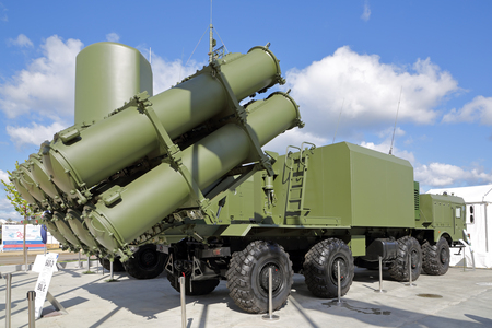 KUBINKA, MOSCOW OBLAST, RUSSIA - AUG 22, 2018: Launcher self-propelled coastal anti-ship missile system BAL-E (SSC-6 Sennight) at the International military-technical forum ARMY-2018