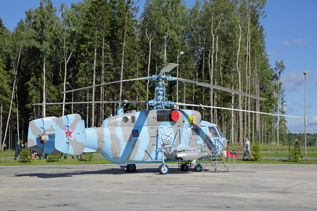 KUBINKA, MOSCOW OBLAST, RUSSIA - AUG 22, 2018: The Kamov Ka-29 (Helix-B) - Russian ship transport and combat helicopter at the International military-technical forum ARMY-2018 in military park Patriot Editorial