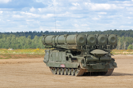 MILITARY GROUND ALABINO, MOSCOW OBLAST, RUSSIA - AUG 22, 2018: Canoniac launcher air defense S-300 (NATO reporting name SA-10 Grumble) at the International military-technical forum ARMY-2018 Editorial