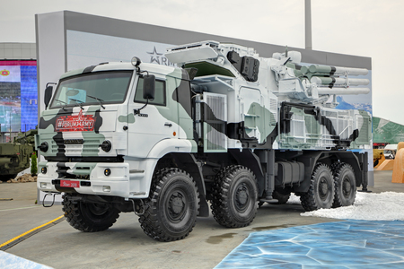 KUBINKA, MOSCOW OBLAST, RUSSIA - AUG 21, 2018: Pantsir-S1 (NATO reporting name SA-22 Greyhound) is a combined short to medium range surface-to-air missile and anti-aircraft artillery at the International military-technical forum ARMY-2018