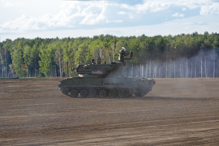MILITARY GROUND ALABINO, MOSCOW OBLAST, RUSSIA - AUG 21, 2018: The Tunguska (SA-19 Grison) is a Russian self-propelled anti-aircraft gun-missile system at the International military-technical forum ARMY-2018