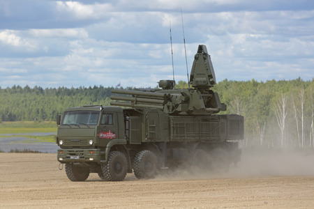 MILITARY GROUND ALABINO, MOSCOW OBLAST, RUSSIA - AUG 22, 2018: Pantsir-S1 (NATO reporting name SA-22 Greyhound) is a combined short to medium range surface-to-air missile and anti-aircraft artillery at the International military-technical forum ARMY-2018 Editorial