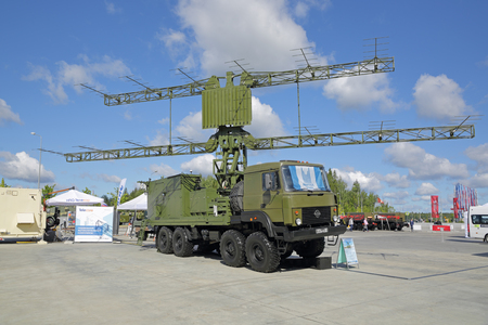 KUBINKA, MOSCOW OBLAST, RUSSIA - AUG 22, 2018: Upgraded mobile two-coordinate reconnaissance and target designation radar at the International military-technical forum ARMY-2018