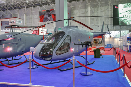 KUBINKA, MOSCOW OBLAST, RUSSIA - AUG 21, 2018: Lightweight training helicopter Scimac 3001 at the International military-technical forum ARMY-2018 in military park Patriot 에디토리얼