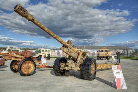 KUBINKA, MOSCOW OBLAST, RUSSIA - AUG 22, 2018: International military-technical forum ARMY-2018. Syrian exhibition. Soviet towed 130 mm gun M-46, captured from terrorists in Syria