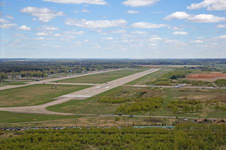 MOSCOW REGION, RUSSIA - MAY 07, 2017: Military air base Kubinka, runway, top view