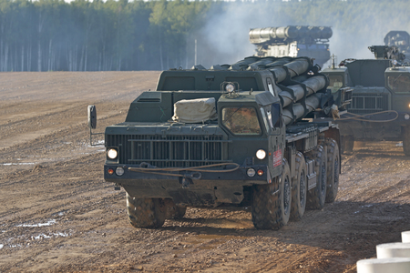 MILITARY GROUND ALABINO, MOSCOW OBLAST, RUSSIA - AUG 21, 2018: The BM-30 Smerch is a Russian heavy multiple rocket launcher at the International military-technical forum ARMY-2018