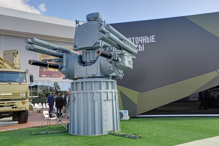 KUBINKA, MOSCOW OBLAST, RUSSIA - AUG 22, 2018: Pantsir-ME - ship-borne anti-aircraft missile-artillery complex at the International military-technical forum ARMY-2018 in military Park Patriot
