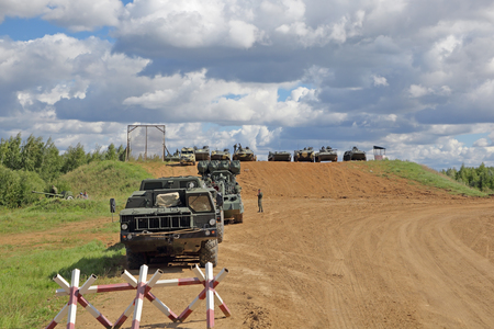 MILITARY GROUND ALABINO, MOSCOW OBLAST, RUSSIA - AUG 22, 2018: International military-technical forum ARMY-2018. Military equipment participating in the show 에디토리얼