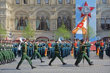 MOSCOW, RUSSIA - MAY 07, 2019: Rehearsal of the Victory Day celebration (WWII). Rehearsal of parade - ceremonial March of soldiers on Red Square. 4th guards tank division named after Y.V. Andropov