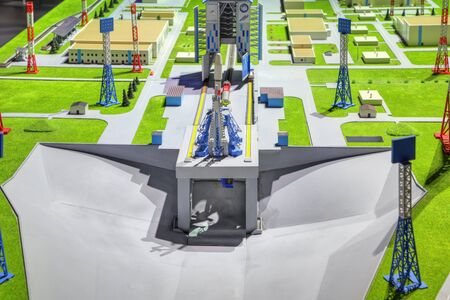 """ZHUKOVSKY, MOSCOW REGION, RUSSIA - AUG 27, 2019: Layout of the launch complex of the """"Vostochny"""" cosmodrome, under construction in the Amur region at the International Aviation and Space salon MAKS-2019"""