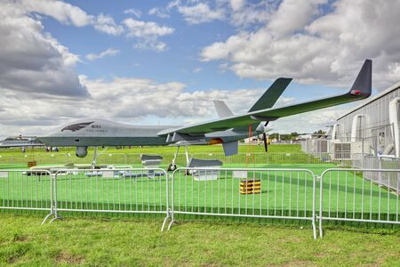 ZHUKOVSKY, MOSCOW REGION, RUSSIA - AUG 27, 2019: Chinese high-altitude strike military UAV Wing Loong II at the International Aviation and Space salon MAKS-2019