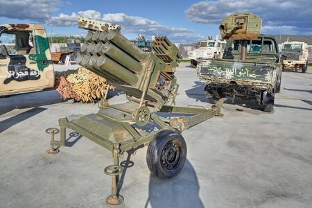 KUBINKA, MOSCOW OBLAST, RUSSIA - AUG 22, 2018: International military-technical forum ARMY-2018. Syrian exhibition. Weapons seized from terrorists in Syria Editöryel
