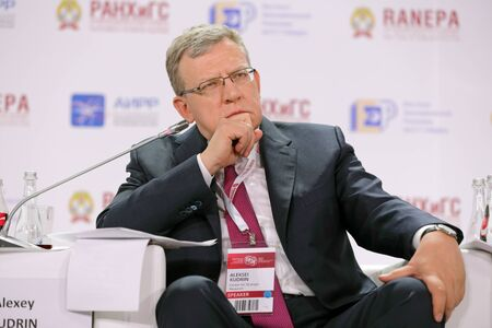 MOSCOW, RUSSIA - JAN 12, 2017: Alexei Kudrin - Russian statesman, former Minister Finance of the Russian Federation at the Gaidar Forum 2017 Editorial