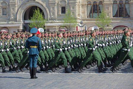 MOSCOW, RUSSIA - MAY 07, 2019: Rehearsal of the Victory Day celebration (WWII). Rehearsal of parade - ceremonial March of soldiers on Red Square. 2nd Taman guards motorized rifle division Redakční