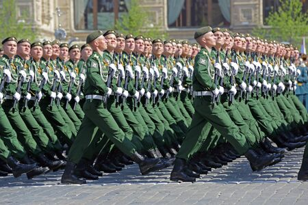 MOSCOW, RUSSIA - MAY 07, 2019: Rehearsal of the Victory Day celebration (WWII). Rehearsal of parade - ceremonial March of soldiers on Red Square. Cadets Of the military space Academy named after Mozhaysky