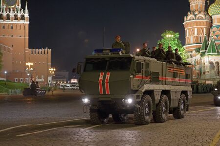 MOSCOW, RUSSIA - MAY 04, 2019: Night rehearsal of the Victory Day celebration (WWII) on Red Square. Military Police of Russia truck