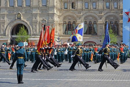 MOSCOW, RUSSIA - MAY 07, 2019: Rehearsal of the Victory Day celebration (WWII). Rehearsal of parade - ceremonial March of soldiers on Red Square. Moscow Border Institute of the FSB of the Russia
