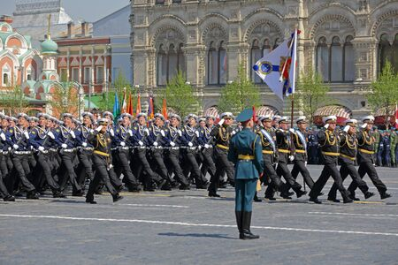 MOSCOW, RUSSIA - MAY 07, 2019: Rehearsal of the Victory Day celebration (WWII). Rehearsal of parade - ceremonial March of soldiers on Red Square. Cadets of the black sea higher naval school named after P. S. Nakhimov Redakční