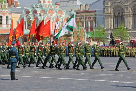 MOSCOW, RUSSIA - MAY 07, 2019: Rehearsal of the Victory Day celebration (WWII). Rehearsal of parade - ceremonial March of soldiers on Red Square. 38th separate railway brigade of the Ministry of defence of Russia
