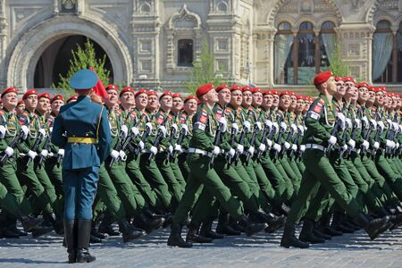 MOSCOW, RUSSIA - MAY 07, 2019: Rehearsal of the Victory Day celebration (WWII). Rehearsal of parade - ceremonial March of soldiers on Red Square. Military police of the Ministry of defence of the Russian Federation
