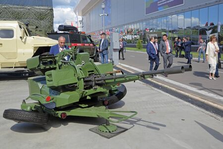 KUBINKA, MOSCOW OBLAST, RUSSIA - AUG 22, 2018: The Soviet towed anti-aircraft gun ZU-23-2 at the International military-technical forum ARMY-2018