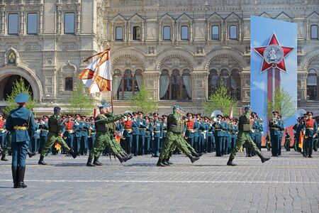 MOSCOW, RUSSIA - MAY 07, 2019: Rehearsal of the Victory Day celebration (WWII). Rehearsal of parade - ceremonial March of soldiers on Red Square. Paratroopers of the 331st guards parachute regiment Kostroma