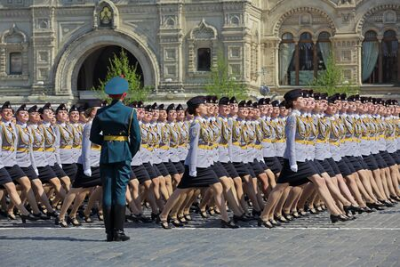 MOSCOW, RUSSIA - MAY 07, 2019: Rehearsal of the Victory Day celebration (WWII). Rehearsal of parade - ceremonial March of female cadets of the Moscow University of the Ministry of internal Affairs of Russia