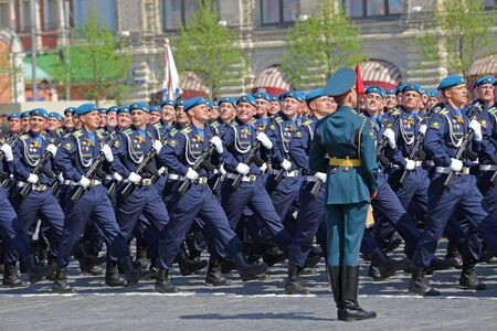 MOSCOW, RUSSIA - MAY 07, 2019: Rehearsal of the Victory Day celebration (WWII). Rehearsal of parade - ceremonial March of soldiers on Red Square. Cadets Military-air Academy of a name of Zhukovsky and Gagarin