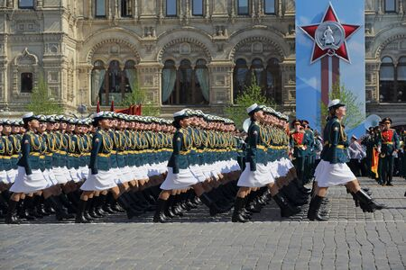 MOSCOW, RUSSIA - MAY 07, 2019: Rehearsal of the Victory Day celebration (WWII). Rehearsal of parade - ceremonial March of female cadets of the Military Academy of communications, Military University and Volsky military Institute of material support