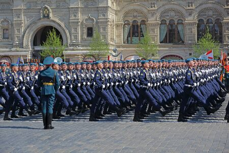 MOSCOW, RUSSIA - MAY 07, 2019: Rehearsal of the Victory Day celebration (WWII). Rehearsal of parade - ceremonial March of soldiers on Red Square. Cadets of the Ryazan Guards Higher Airborne Command School Redakční