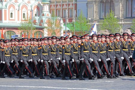 MOSCOW, RUSSIA - MAY 07, 2019: Rehearsal of the Victory Day celebration (WWII). Rehearsal of parade - ceremonial March of soldiers on Red Square. Company of the Moscow Suvorov military school