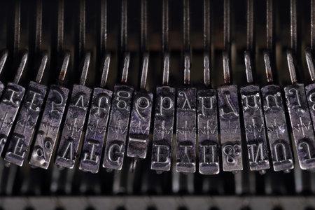 Typographic fonts old typewriter, close-up