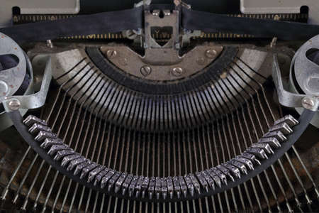 The machinery of an old typewriter, close-up