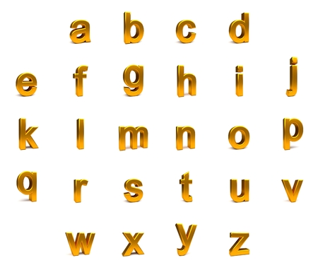 aligned: 3d gold font with each character in perspective on a white background Stock Photo
