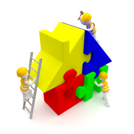 3d rendering. Construction engineers building a puzzle house or home. A UHD 3D rendered illustration of 4320x4320 resolution (18.7 megapixels). Building a house. Home repairs. Stock Photo
