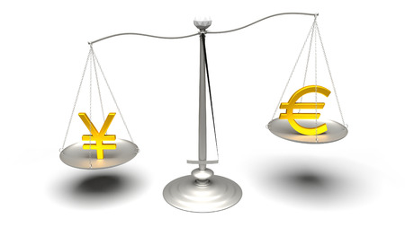 traded: 3D rendering. Euro or Yen. Scales measuring two of the most traded currencies. Left versus right. Good choice versus bad choice. Profit or loss. Ultra High Definition 4K rendered illustration.