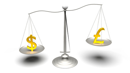 3D rendering. Scales comparing two of the most traded currencies. Full High Definition 4K rendered illustration.