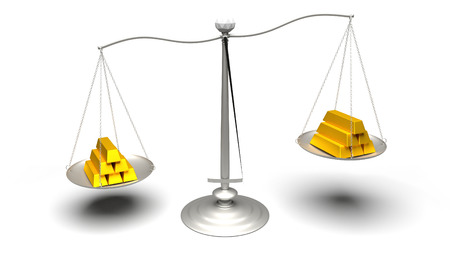 carat: 3D rendering. Different carat gold pieces. Multiple gold bars of different weights. Ultra High Definition rendered illustration of scales weighing fake and real gold ingots. Stock Photo