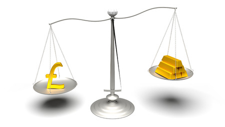 3D rendering. Pound or Gold. Scales weighing two of the most traded currencies. Left versus right. Good choice versus bad choice. Profit or loss. Ultra High Definition 4K rendered illustration.