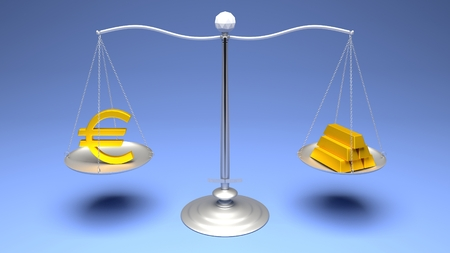 monetary devaluation: 3D rendering. Scales comparing two of the most traded currencies on a blue gradient background. Full High Definition 4K rendered illustration.