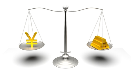 monetary devaluation: 3D rendering. Scales comparing two of the most traded currencies. Full High Definition 4K rendered illustration.