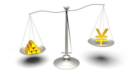 3D rendering. Yen or Gold. Scales measuring two of the most traded currencies. Left versus right. Good choice versus bad choice. Profit or loss. Ultra High Definition 4K rendered illustration. Stock Photo