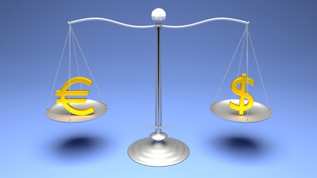 3D rendering. Scales comparing two of the most traded currencies on a blue gradient background. Full High Definition 4K rendered illustration.