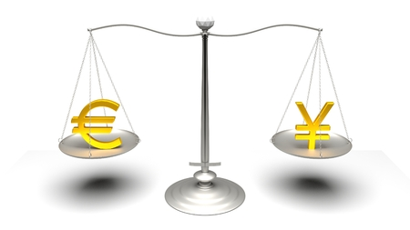traded: 3D rendering. Scales comparing two of the most traded currencies. Full High Definition 4K rendered illustration.