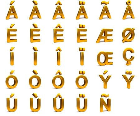 aligned: 3D rendering. 3d gold font with each character in perspective on a white background Stock Photo