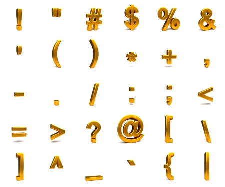parentheses: 3D rendering. 3d gold font with each character in perspective on a white background Stock Photo