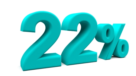 twenty two: Twenty two percents 3D text, with big fonts isolated on white background. 3D rendering. Stock Photo