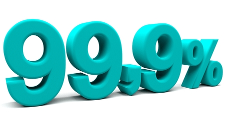 fractional: Ninety nine point nine percents 3D text, with big fonts isolated on white background. 3D rendering. Stock Photo