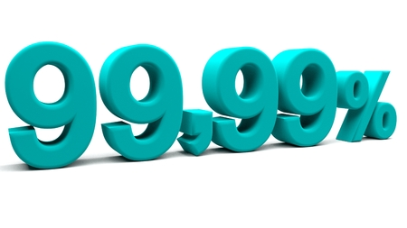 almost all: Ninety nine point ninety nine percents 3D text, with big fonts isolated on white background. 3D rendering.